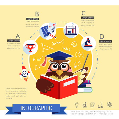 subject: Education flat design with owl teacher and subject icons