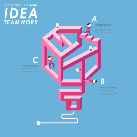Teamwork concept flat design with people walking through complicated maze Vectores