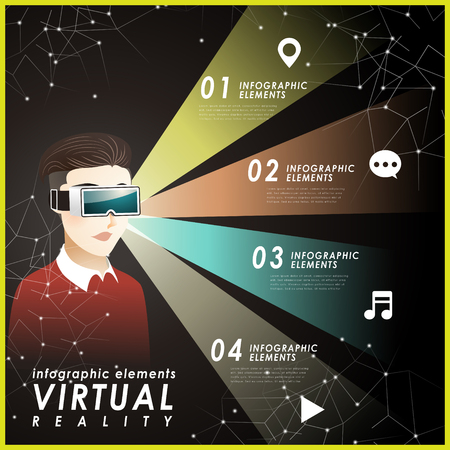 Virtual reality flat design with a man wearing headset