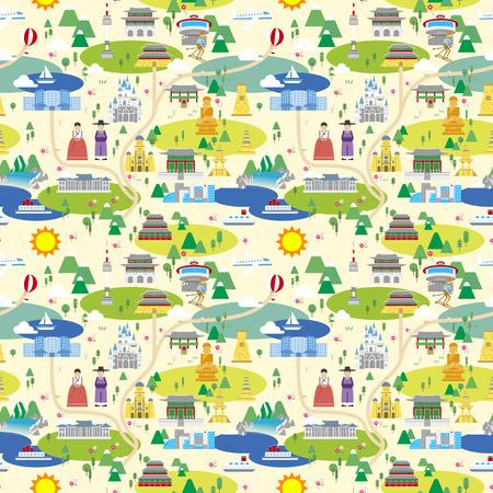 韓国旅行地図のシームレスなパターン デザイン  イラスト・ベクター素材