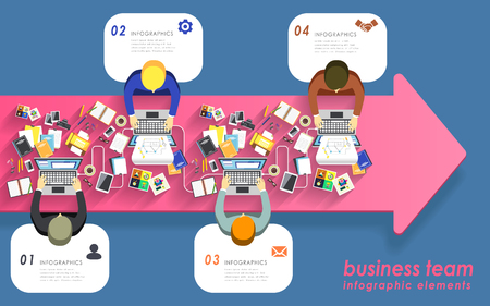 work together: Top view of Teamwork concept flat design with people work together Illustration