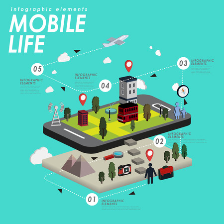 life style: Mobile life with lovely town and smart phone in 3d isometric flat style