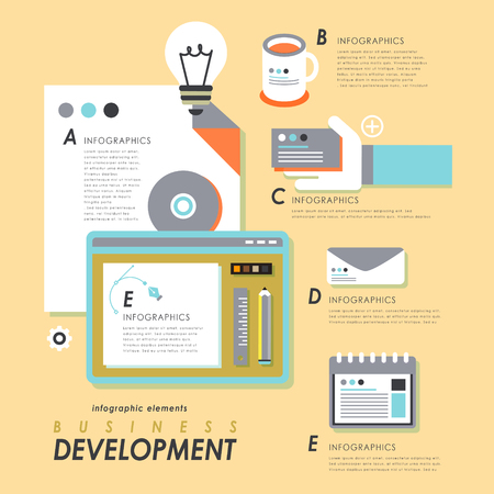 business supplies: Business development concept flat design with office supplies Illustration