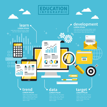 successful student: Education concept flat design with laptop and stationery