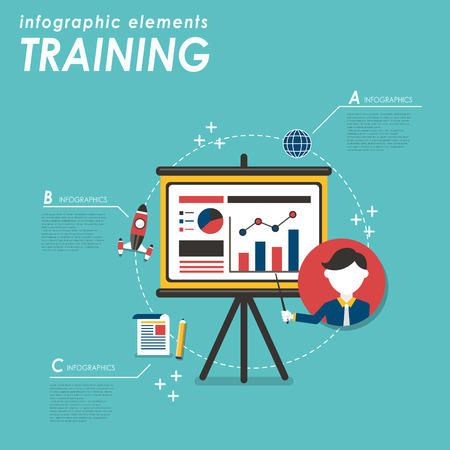 projector screen: Business training flat design with projector screen and chart graph
