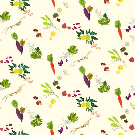 abstract food: Lovely vegetables and fruit seamless pattern design