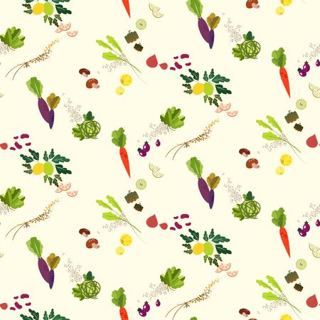Piękne warzywa i owoce bez szwu wzorzec projektowy Ilustracje wektorowe