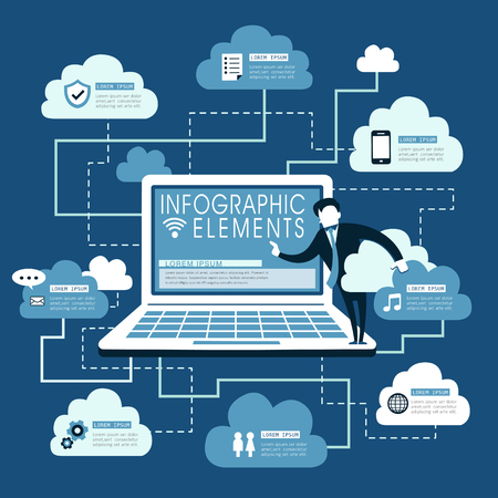 transnational: Cloud service flat design with laptop and cloud computing symbol Illustration