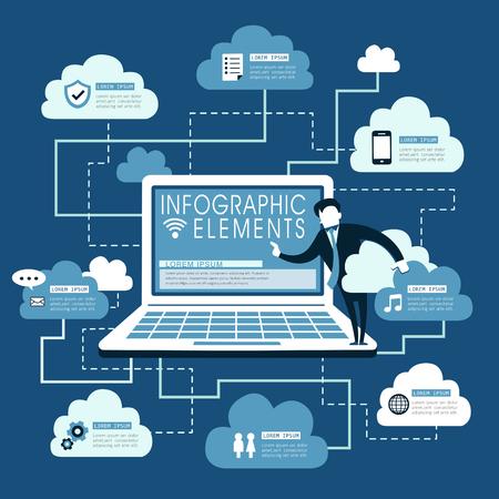 cloud service: Cloud service flat design with laptop and cloud computing symbol Illustration