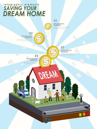 save money: Saving your dream home with lovely house in 3d isometric flat style