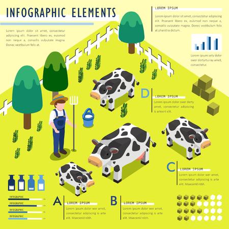 Adorable ecology 3d  isometric flat design with farm animals Illustration
