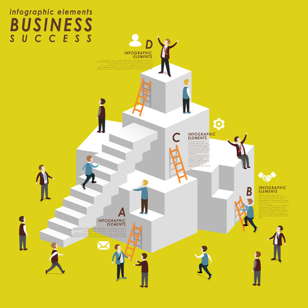Business success concept with people climbing up to stairs in 3d isometric flat style Illustration