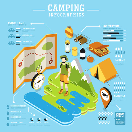 encampment: Camping 3d isometric flat design with camping equipments