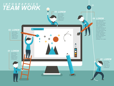 Teamwork concept flat design with people drawing together