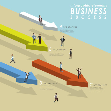 to go: Business success concept with people standing on arrows and go ahead in 3d isometric flat style