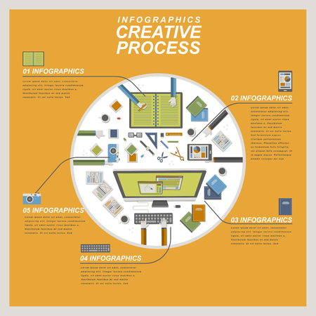 Creative process concept flat design with top view of workplace Vektorové ilustrace