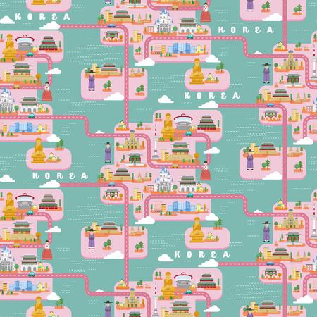 south korea: South Korea travel map seamless pattern design