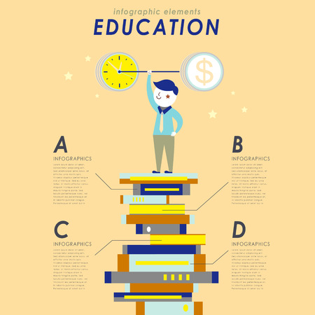 student book: Education concept flat design with a student stands on piles of book