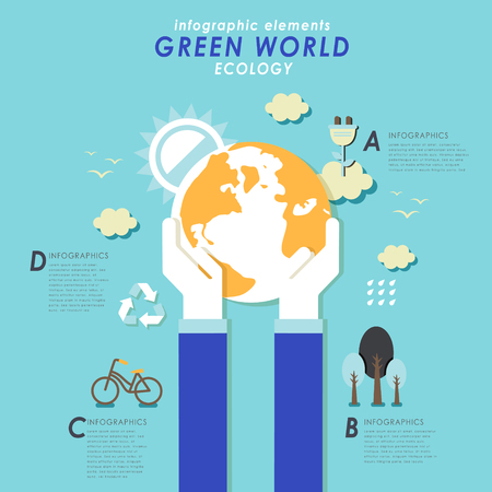 hands holding earth: Think green flat design with hands holding earth Illustration