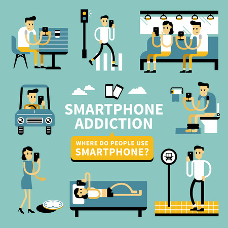 overuse: Smart phone addiction phenomenon in flat design