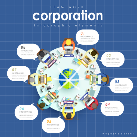 transnational: Top view of Teamwork concept flat design with people work together Illustration