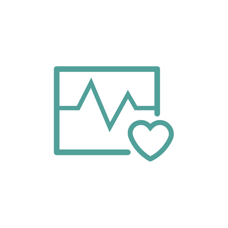 pulsating: heartbeat and cardiogram thin line icon in turquoise color Illustration