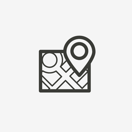 pointer on map icon of brown outline for illustration