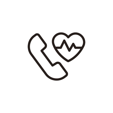 heartbeat line: heartbeat and cardiogram thin line icon in dark brown color Illustration