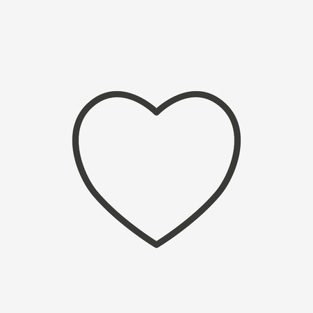 heart icon of brown outline for illustration