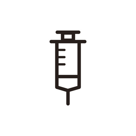 an injector: Syringe thin line icon in dark brown color