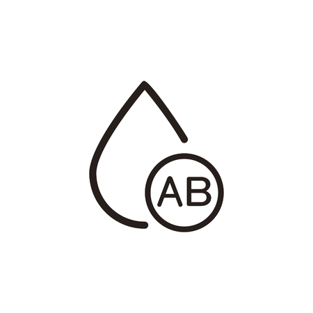 donor blood type: ab type blood drop thin line icon in dark brown color Illustration