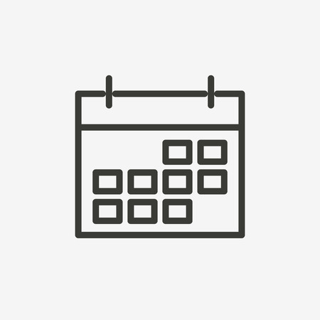 calendar icon of brown outline for illustration Illustration