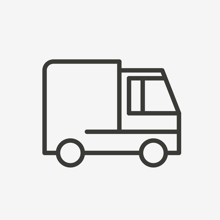 money button: truck icon of brown outline for illustration