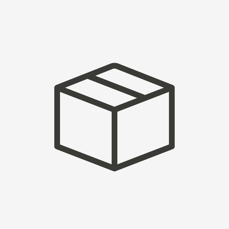 brown box: simple box icon of brown outline for illustration Illustration