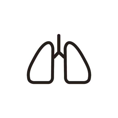 bronchi: lungs thin line icon isolated on beige background