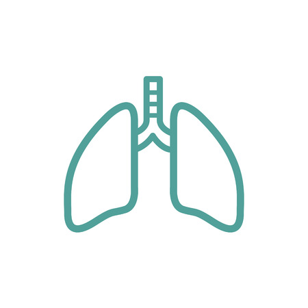 lungs thin line icon isolated on beige background