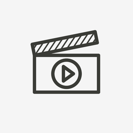 internet buttons: video player icon of brown outline for illustration