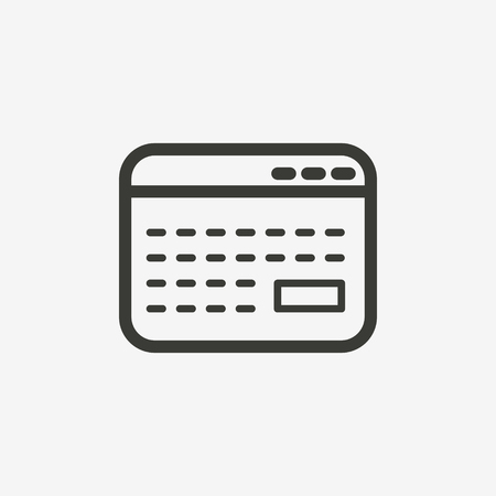 money button: credit card icon of brown outline for illustration