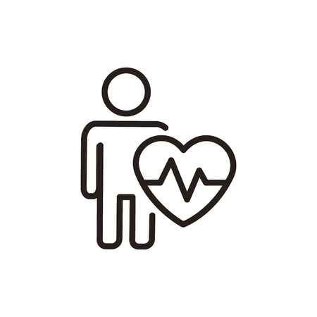 pulsating: heartbeat and cardiogram thin line icon in dark brown color Illustration