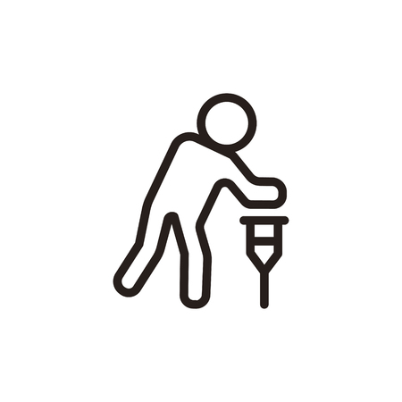 Man with cane thin line icon isolated on beige background