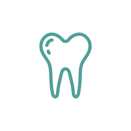 enamel: tooth thin line icon in turquoise color