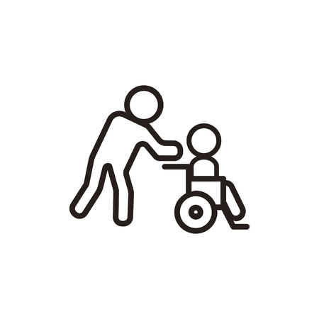 Disabled thin line icon in dark brown color Illustration
