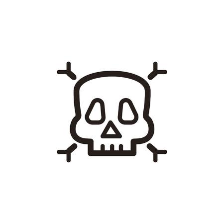 cranium: Toxic thin line icon isolated on beige background