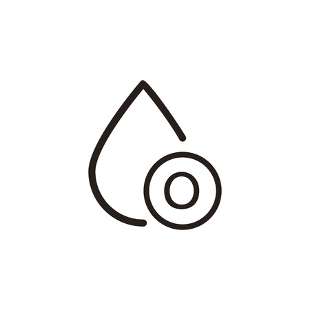 donor blood type: o type blood drop thin line icon in dark brown color