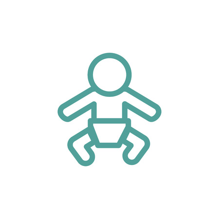 Baby thin line icon isolated on beige background