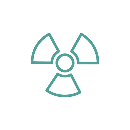 ionizing: Ionizing radiation thin line icon in turquoise color