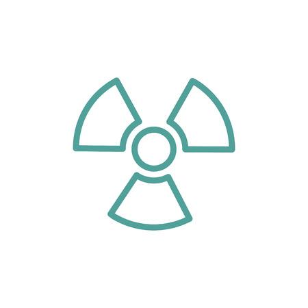 ionizing radiation risk: Ionizing radiation thin line icon in turquoise color