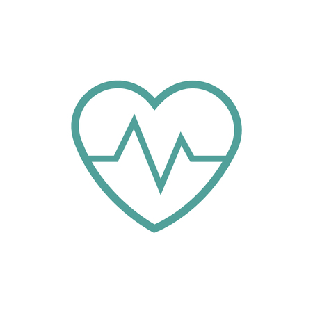heartbeat line: heartbeat and cardiogram thin line icon in turquoise color Illustration