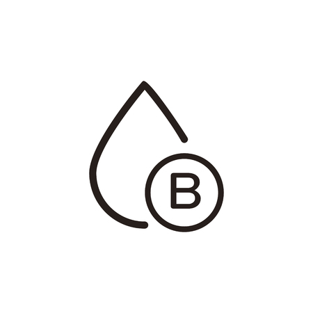 donor blood type: b type blood drop thin line icon in dark brown color