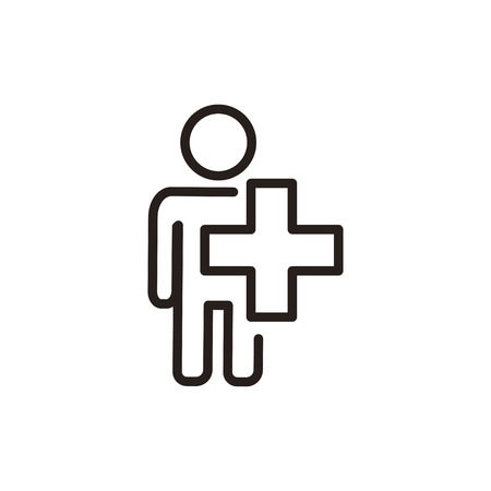 Medical health thin line icon isolated on beige background